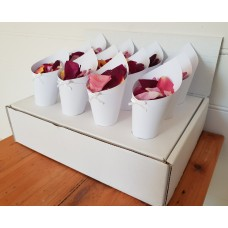 12 Freeze Dried Rose Petal Confetti Throwing Cones with Display Stand