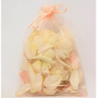 10 x Organza Guest Confetti bags with Freeze Dried Rose Petals